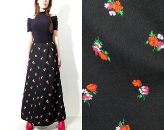 Vintage Maxi Long Black Floral Crimplene Skirt Size 40