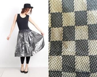 Vintage Metallic Checkered Flared Midi Skirt