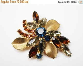 Rhinestone Flower Brooch Brown Blue Champagne  and brushed gold leaf  Floral Pin Mid Century