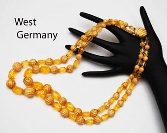 Double strand  Bead Necklace - Amber Brown cream Lucite - West Germany - beads