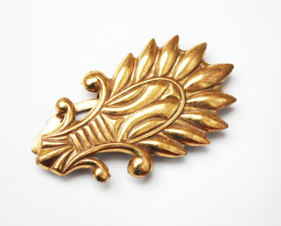 Gold Dress Clip - Art Deco - Fur Clip - Vintage - Art Deco - Wheat Leaf