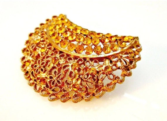 Amber Rhinestone Crescent brooch - Gold filigree - Mid Century  - vintage pin -Gift for her