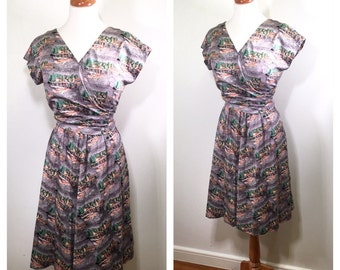 1960s Novelty Print Cotton Sundress Vintage Watercolor Garden Party Dress Purple Blue Green Pink Faux Wrap Dress Midi Dress Medium