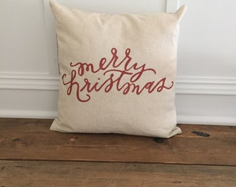 Red Merry Chirstmas Pillow Cover