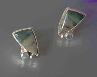 Morrisonite Jasper, Labradorite Earrings in Silver- Olive Green Stud Earrings-OOAK Metalwork Earrings