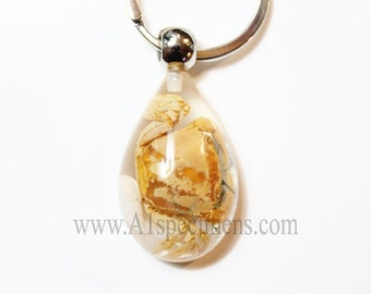 Real Golden Crab Clear Resin Key Chain