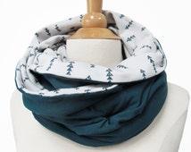 infinity scarf loop circle Jersey handmade fabric green turquoise triangle shawl