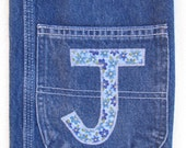 Made to Order Recycled  Denim Composition Notebook Cover with Monogram Initial Applique