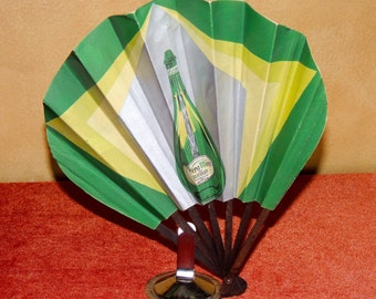 Art Deco French Paper Advertising Fan for Vera Mint  Liqueur , 1928