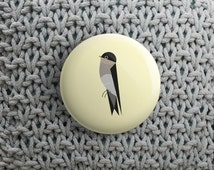 spring button with sparrow (pinback / magnet / mirror )