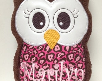 Personalized Monogrammed Plush Owl Pillow Soft Toy
