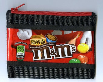 M & M Peanut Butter Pet Screen Coin Purse Up-cycled Candy Wrapper
