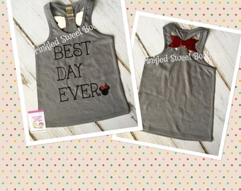 Best Day Ever Mouse Glitter Bow Back Tank Top Shirt Custom Women Kid Child Family Perfect for Disney World Trip First Birthday