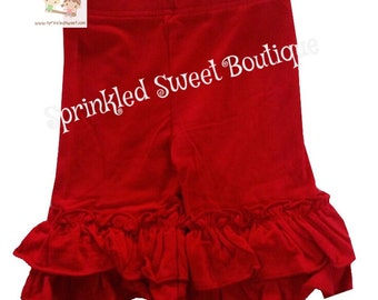 Big Ruffle Red Shorts for Girls Perfect for Summer Patriotic Disney Trip Vacation So Cute Matches