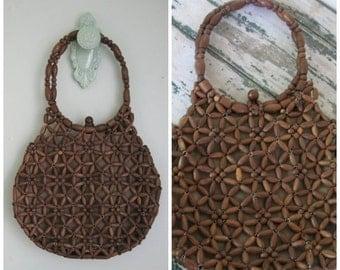 EOS SALE Vintage Wooden Beaded Handbag// 1960's