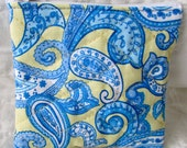 quilted zippered pouch / small change purse / quilted Yellow and blue paisley print
