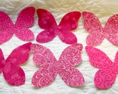 Fabric appliques sew on 6   butterflies assorted Pink fabric
