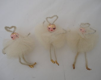 Vintage Handcrafted Tulle Christmas Angels, Trio of White Tulle Christmas Angels, Christmas Angel Ornament, Inspirations Lot of Tulle Angels