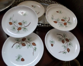 9 Pieces-Vintage Stetson China-Pinecone/Fir Tree Branches Dinner Plate/Dessert Plates/Berry/Sugar Bowl & Lid Lot
