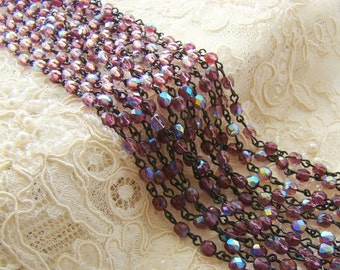 AB Amethyst Beaded Rosary Black Chain 4mm Faceted Czech Glass Beads Patina Brass Links - 1 Ft.