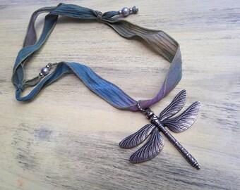 Large Antique Silver Dragonfly Pendant Silk Ribbon Necklace Adjustable Short Necklace