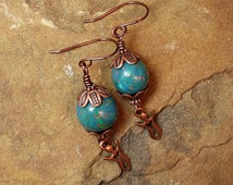 Goddess Polymer Clay Bead Dangle Earrings TierraCast Charm Kumihimo Caps Copper Pierced French Wires USA