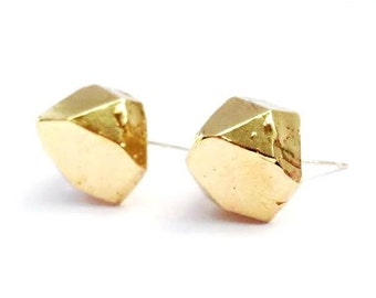 Brass Faceted Crystal Earring Posts