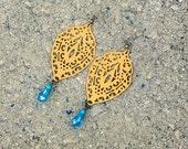 OOAK** Hand Painted Metal Filigree Connectors With Teardrop Beads, Filigree Earrings, Shabby Chic, Bead Earrings