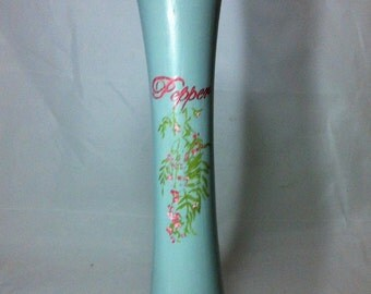 Large Pepper Mill Grinder, Hand Painted Peppermill in Aqua Chalk Paint with Pink Peppercorn Branches, Pepper in Script , Vintage Pepper Mill
