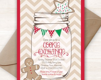 Christmas Cookie Exchange Invitation, Printable Holiday Invitations, Christmas Invitations, Cookie Swap, Cookie Party, Christmas Invitations