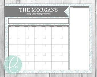 Family Calendar - Printable 16x20 Dry Erase Calendar Poster Command Center
