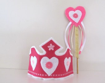 pink and White Girls Crown and Wand, Felt Fairy Crown and Ribbon Wand