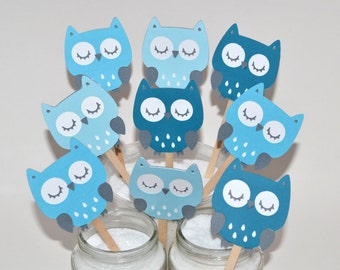 12 Owl Cupcake Toppers / Owl Birthday Party / Owl Baby Shower/ Woodland Toppers /Blue Owl Cupcake Toppers / Owl Decorations / Owl