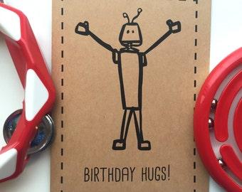 "Robot Kid's Card ""Birthday Hugs!"""