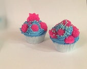 SALE Two Jasmine Cupcake Bath Bombs with Soap Flowers