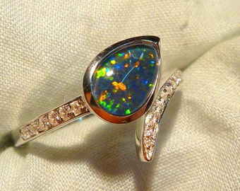 Opal Ring Ladies Sterling Silver 925 & CZ, 9x6mm Teardrop Triplet. item 100929.
