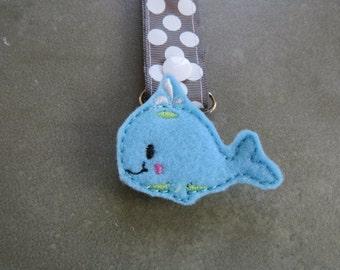 Pacifier Leash Paci Clip - Blue Whale Feltie Metal Pacifier Clip