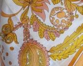 """Pretty Orange White Floral Soft Acetate  Scarf 28"""" Square"""