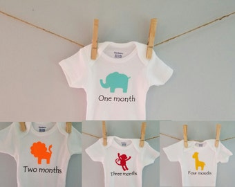 Jungle theme baby clothes, zoo animals, monthly onesies,  Milestone onesies, month to month onesies, safari onesies, jungle onesies