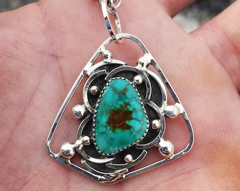 Natural Turquoise Necklace Sterling Silver