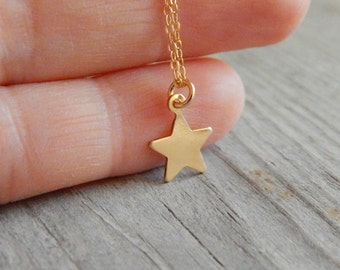 Star necklace, Dainty star necklace, Gold star necklace, Star initial necklace, Dainty gold necklace, Layered