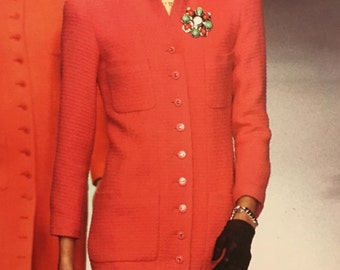 Rose colored button front Chanel coat dress 38 PRICE REDUCED