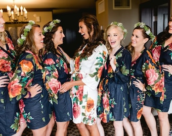 SALE: Navy and White Floral Bridesmaids Robes, Bridesmaid Gift, Robe, Bridesmaids gift, getting ready robes Bridal shower favors baby shower