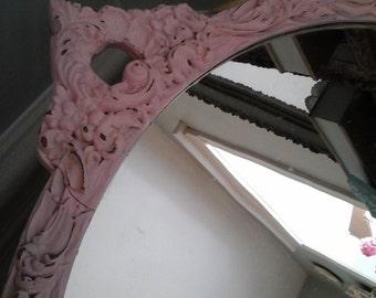 Round shabby chic pink mirror