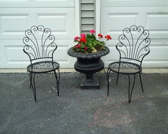 Curvy vintage iron patio chairs