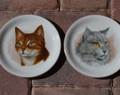 Beautiful Set of 2 English Ironstone White Cat Plates, Wood & Sons England, Striped Orange Tabby w Green Eyes and Long-Haired Grey Chartreux