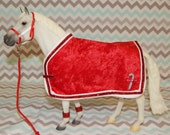CLEARANCE- Holiday Winter Candy Cane Blanket & Halter Set for Traditional Breyer Horse