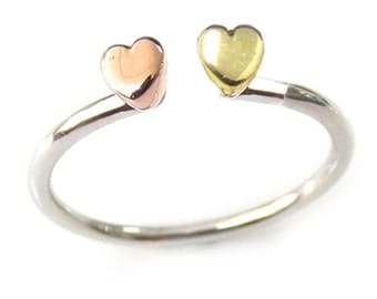 Double Heart Sterling Silver Stackable Ring Size 2-15, Choose Your Style