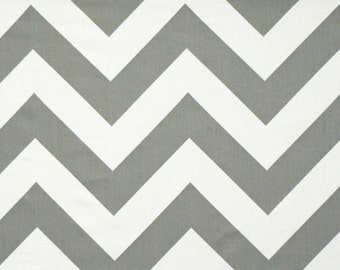 Grey and White Zippy Cotton Fabric - Drapery Fabric - Heavy Cotton Fabric - Storm Grey and White Chevron Zippy - Fabric by the Yard