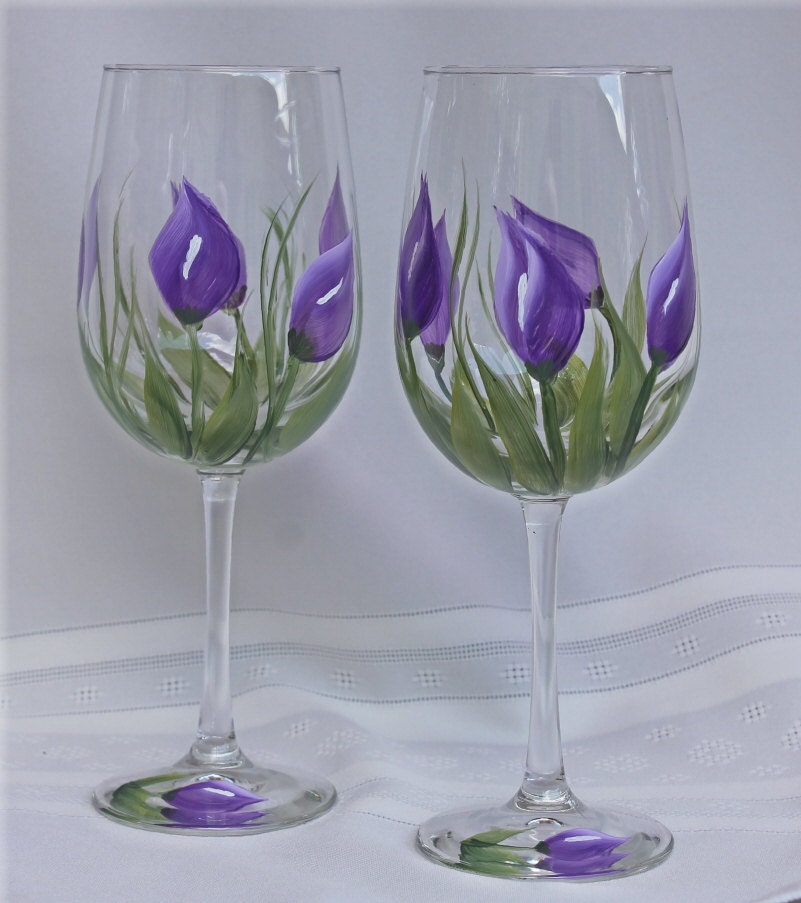 Hand Painted Wine Glasses Set Of 2 Purple Calla Lily On